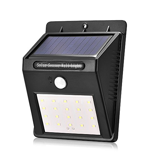 yuyitec Wasserdicht 20 LED Outdoor LED Solar Light Power PIR Motion Sensor Wandleuchte energiesparend Street Path Home Garten Sicherheit Lampe (Outdoor-pir-licht)