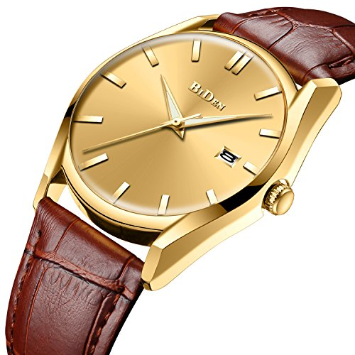 Mens Simple Design Watches Brown Men 30M Waterproof Luxury Date Calendar Wrist Watch Gents Business Casual Fashion Dress Analogue Quartz Watches with Gold Dial Genuine Leather Strap