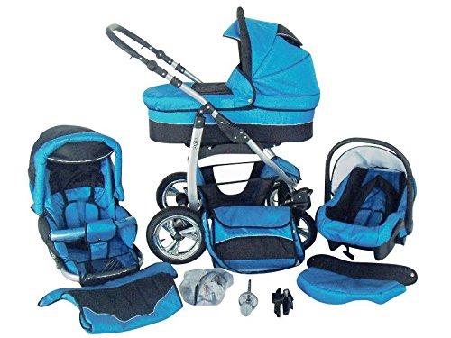Chilly Kids Dino 3 in 1 Kinderwagen Set (Autosit & Adapter, Regenschutz, Moskitonetz, Schwenkräder) 11 Blau & Schwarz
