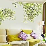 Oyedens Grüne Blätter Fliegen im Wind Wandsticker, Wohnzimmer Schlafzimmer Entfernbare Wandtattoos Wandbilder