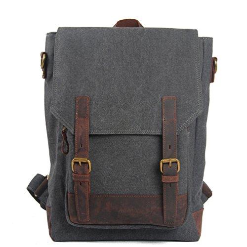 simplebase Unisex in Pelle con tela zaino Vintage Casual zaino borsa da palestra verde 6819green Standard 6914grey