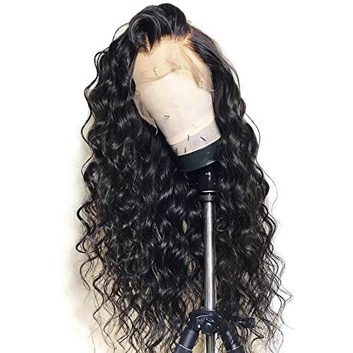 Cosswigs Loose Wave 360 Wig with Baby Hair Brazilian Remy Human Hair Wigs for Black Women 130 Density 360 Lace Frontal Wig Natural Color 16inches(40.5cm) -