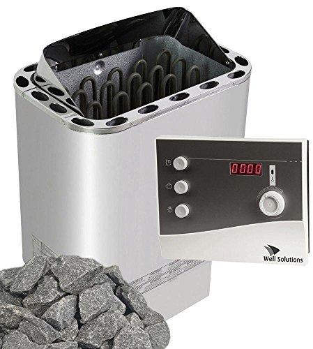 Well Solutions Saunaofen Edelstahl Next 8 kW/Externer Sauna Steuerung K2 mit Zeitvorwahl/Original Marke Well Solutions