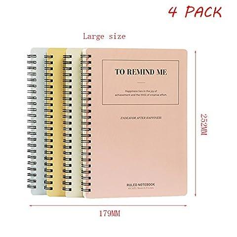 yookoon Spirale Notebooks A51Thema Student 60Zählen 120Seiten Stationery Coil Einfache Weiche Notizblock Verdickte Spirale Book 4Pack Large