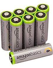 AmazonBasics 8 Pack AA High Capacity Ni-MH Pre-Charged Rechargeable Batteries, 1000 Cycle (Typical 2400mAh)