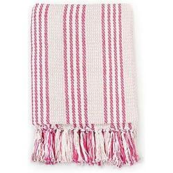 Tidyard Couverture Coton à Rayures   Jeté de Canapé   Plaid Canape Grande Taille en Coton 160 x 120 cm Rose et Blanc
