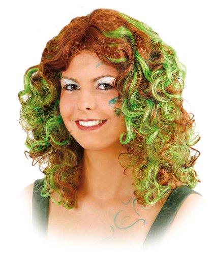 Orlob gelockte Damen Perücke Waldfee in braun-grün zum Kostüm Hexe Nymphe (In Den Wald Hexe Kostüme)