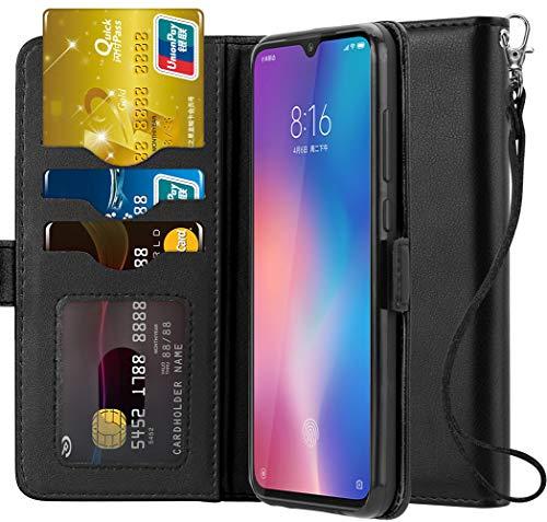 Ferilinso Hülle Kompatibel mit Xiaomi Mi 9, Elegantes Echtes Leder mit ID Kreditkarten-Slots Halter Flip Cover Stand Magnetic Closure Case für Xiaomi Mi 9 (Schwarz) -