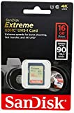 SanDisk Extreme 16GB SDHC UHS-I U3 memory card, up to 90MB/s read