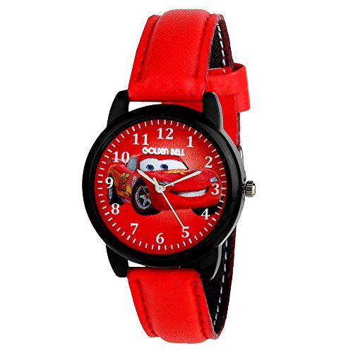 Golden Bell Crazy Taxi Multicolor Dial Red Strap Analog Wrist Watch for Kids and Boys - GBK-0049