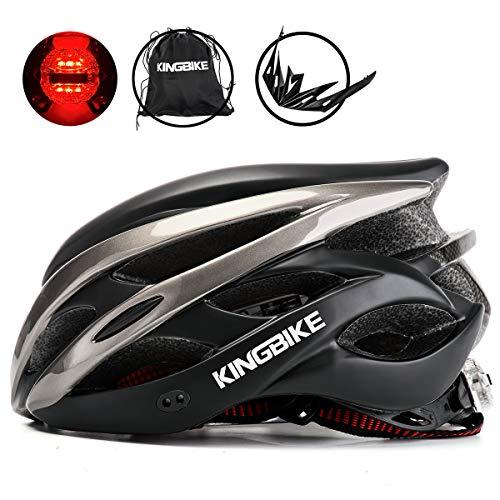 KING BIKE Fahrradhelm Helm Bike Fahrrad Radhelm mit LED Licht FüR Herren Damen Helmet Auf Die Helme Sportartikel Fahrradhelme GmbH RennräDer Mountain Schale Mountainbike MTB XL(59-63CM)