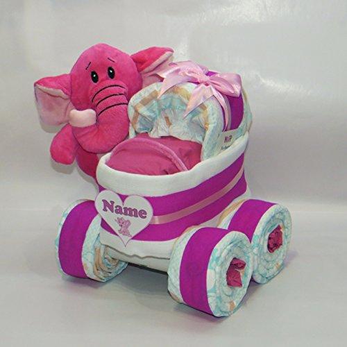 'pañales pañales para tartas-Cochecito XL de neumáticos 'Corazón + Elefante Rosa
