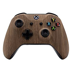 eXtremeRate Schutzhülle Obere Case Hülle Gehäuse Cover Oberschale Skin Housing Kit Schale Shell für Xbox One S/Xbox One X Controller(Holzmaserung)