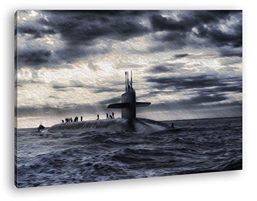 deyoli Militär U Boot auf offener See Effekt: Zeichnung Format: 80x60 als Leinwandbild, Motiv fertig gerahmt auf Echtholzrahmen, Hochwertiger Digitaldruck mit Rahmen, Kein Poster oder Plakat