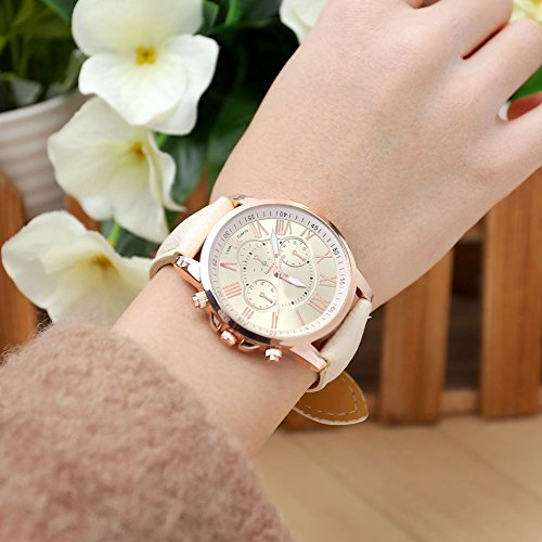 JSDDE Uhren,Neue Damenmode Genf römischen Ziffern-Leder Analog Quarz Armbanduhren(Beige) - 4
