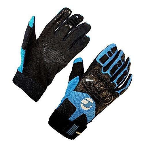 Unisex Leather & Carbon MTB Knuckle Gloves - Blue/Black - Sml