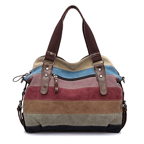 Bolsos de Mano,Vococal® Bolsos de Mujer,Lona coloridos rayas bolso Tote Crossbody bolsa de la mujer de gran capacidad para los cosméticos de paraguas plegable iPad