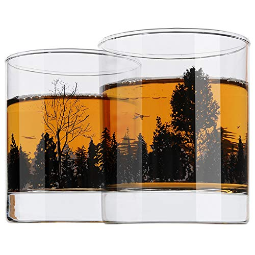 Yurnero Whiskey Gläser 2er Set Waldlandschaft Altmodischer Whiskeybecher zum Trinken von Scotch, Bourbon, Cognac, Cocktails Heavy Base Rocks Gläsern 300ml für Herren, Papa, Vatertagsgeschenke - Heavy Base Rocks Glas