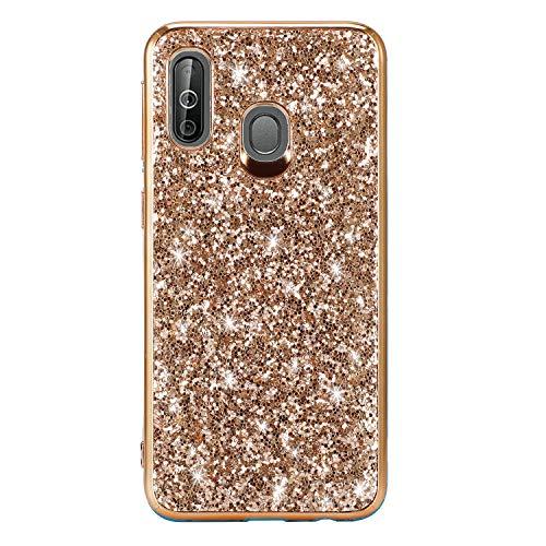 Miagon Glitzer Hülle für Galaxy A40,Überzug Rahmen Stoßfest Glänzend Bling Ultra Schlank Weich Silicone Schutz Case Handyhülle Schutzhülle für Samsung Galaxy A40 -