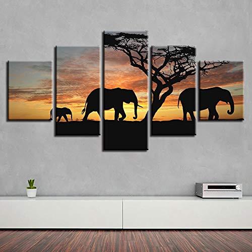 QIFUHUA Poster Malerei Auf Leinwand Home Dekoration Moderne 5 Panel Elefantenbaum Für Wohnzimmer Wandkunst Bilder HD Gedruckt Rahmen, Rahmen, 40x60 40x80 40x100 cm