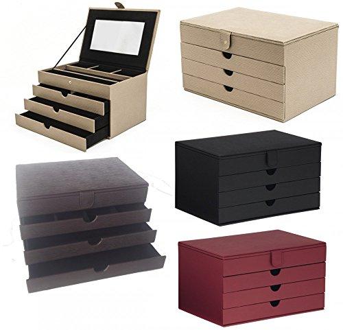 Edler stilvoller Luxus LUXOR Schmuckkoffer Schmuckkasten Schmuckschatulle NEU, Farbe:schwarz