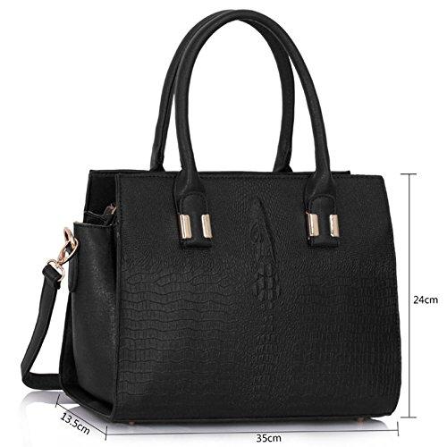 TrendStar Frauen Croc Handtaschen Der Damen Umhängetaschen Konstrukteur Leder Promi-Stil Tote Schwarz
