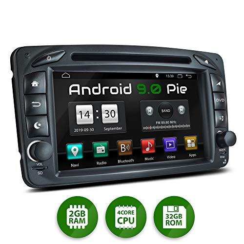 XOMAX XM-07ZA Autoradio mit Android 9 passend für Mercedes Viano CLK Vito, 4Core, GPS Navigation, DVD, CD I Support: WiFi, 4G, DAB+, OBD2 I Bluetooth, 7 Zoll / 18 cm Touchscreen, USB, SD