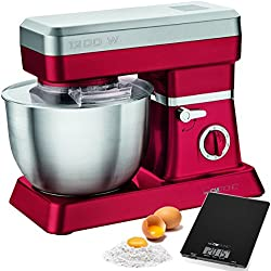 Clatronic KM 3630 - Batidora amasadora capacidad de 6,3 litros, 8 velocidades, 1200 W color roja + báscula cocina