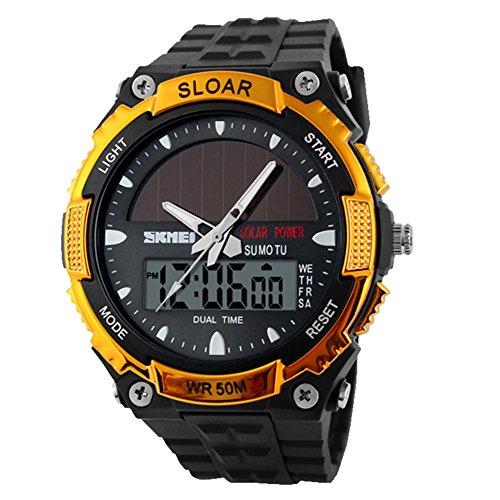 Uhr - Skmei Solarkraft Armee LED Uhr Datum Wochen Dual 5ATM Wasserdicht Armbanduhr fuer Sport (Gold)