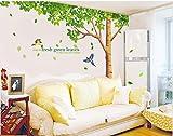 Rainbow Fox - Albero Adesivo da parete per Adesivo da parete per soggiorno con riproduzione di albero a foglie verdi