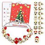 Sopear Adventskalender,Cute Christmas Advent Countdown Kalender DIY 24 Tage Charms Armband Emoji Perlen Ohrstecker Set Überraschungsbox für Mädchen Frauen
