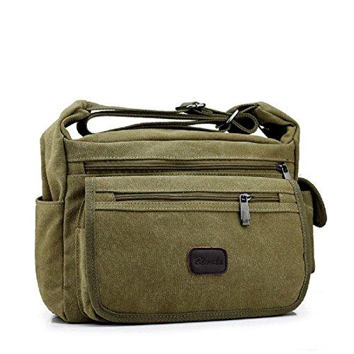 Draussen Bewegung Messenger Bag Segeltuch Sport Rucksack Waschbar Reisetasche Khaki