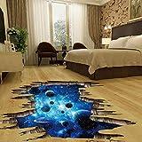 Indexp abnehmbare Aufkleber in 3D für Boden oder Wand, Vinyl, Kunst, Wohnzimmer, Dekoration, PVC, Planet, 60cm * 90cm