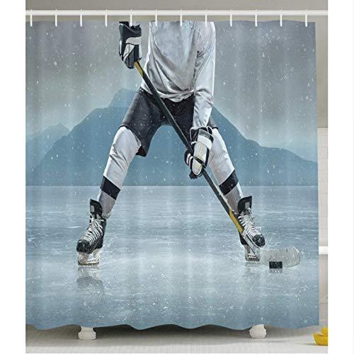 WIXIJAWR Marito Giocatore di Hockey su Ghiaccio attività di Pattinaggio All'Aperto Attrezzature Snow Game Winter Team Casco Pista Man Sports Tenda da Doccia, 150X180Cm