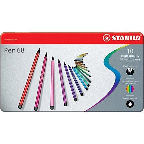 Stabilo Pen 68, 10 Pennarelli in Scatola in Metallo, 1 mm, Colori Assortiti