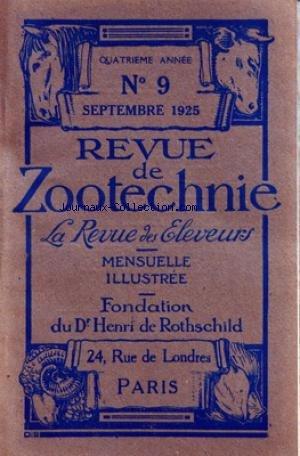 REVUE DE ZOOTECHNIE (LA) [No 9] du 01/09/1925