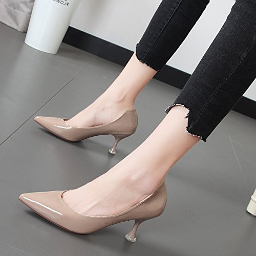 Xue Qiqi Candy farbige fein mit High Heels Damen Schuhe Tipp hell-grün einzelne Schuhe Frau Tide, 36, m, Weiß