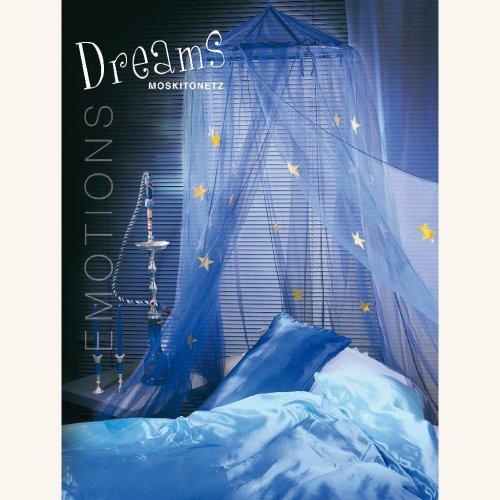 Moskitonetz DREAMS mit Leuchtsternen 12,5x2,5m Betthimmel Baldachin Mückennetz (blau)