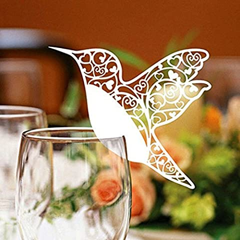 Decorated Wine Glasses Wedding Favor Candy Laser Cut Ivory Name Place Cards White Hummingbird, for Birthday, Wedding, -50pcs
