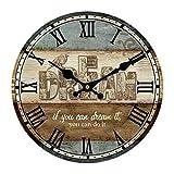 Wanduhr Vintage, Vicoki Wanduhr Retro Europäische Uhr für Wohnzimmer, Küche Oder Büro, 34cm