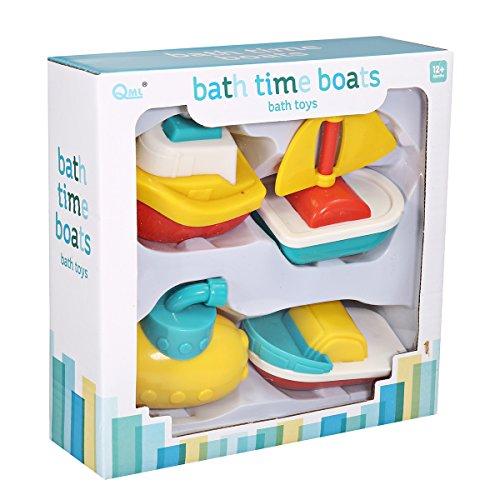 FUNTOK Badespielzeug Badewanne Wasserspiel Wasserspielzeug Badewannenspielzeug Wasserspaß Spielzeug Dusche Spielzeug Schwimmende Boote Set für Babys 4PCS (Baby Boot-set)