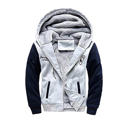 WALK-LEADER Mens Thick Fur Lined Zip Up Hooded Hoodies Sweatshirt Jacket Outwear L/G L