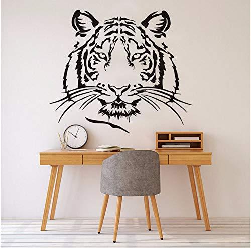 (Lvabc TigerkopfSilhouette Wandaufkleber Wilde Tier Wohnkultur Große Katze Vinyl Klebstoff Abnehmbare AufkleberKunstwand 50X43 Cm)