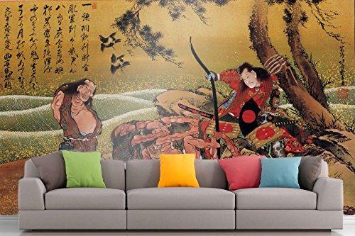 The Museum Outlet Roshni Arts®-kuratierte Art Wall Mural-Hokusai-Tametomo auf Demon Insel   selbstklebend Vinyl Ausstattung Décor Art Wand-121,9x 91,4cm