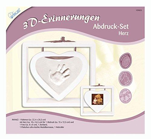 MAMMUT 129023 - 3D Erinnerungen Abdruck-Set Herz, Komplettset mit Herz-Holzrahmen (MDF), 1 Zierband, 1 Pck. Modelliermasse und 1 Holzroller, Kreativset für junge Eltern