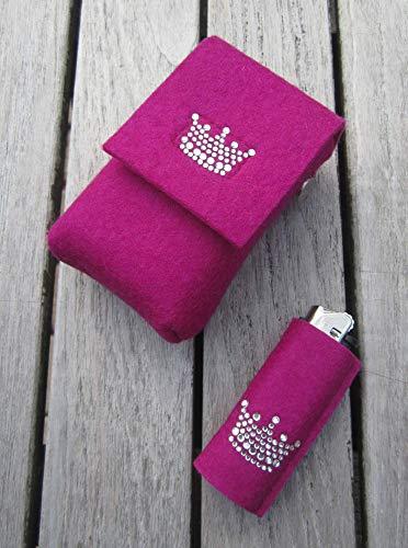 zigbaxx Set Zigarettenetui mit Feuerzeughülle LITTLE CROWN - Zigarettenhülle für Zigarettenschachtel 20 Zigaretten/Big Box XL/XXL / 100% Woll-Filz Krone Strass/pink beige braun schwarz grau rot (Strass-feuerzeug-hülle)