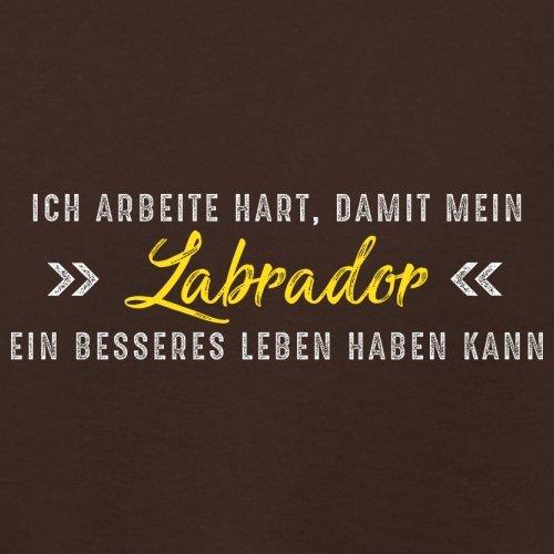 Ich arbeite hart, damit mein Labrador ein besseres Leben haben kann - Damen T-Shirt - 14 Farben Dunkles Schokobraun