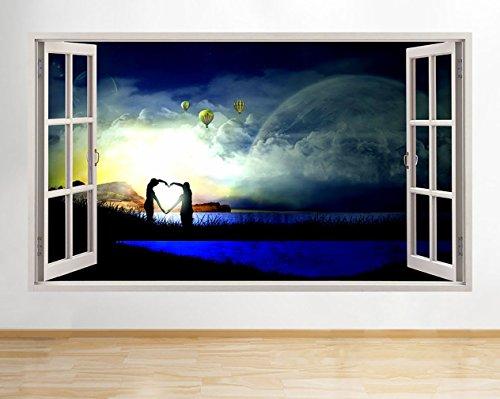 tekkdesigns Halogen-Scheinwerferbirne R961Herz Form Scenic Nature Cool Fenster Wandbild Aufkleber 3D Kunst Aufkleber Vinyl Raum