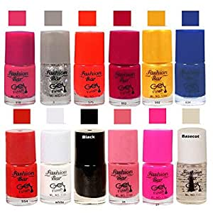 Fashion Bar Glitter Silver Nail Polish Combo Pack of 12
