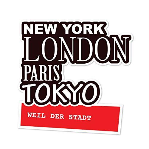 JOllify Aufkleber - WEIL DER STADT – Farbe: Composition: New York, London, Paris, Tokyo